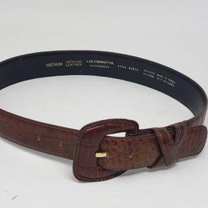 Liz Claiborne wide croco embossed leather belt